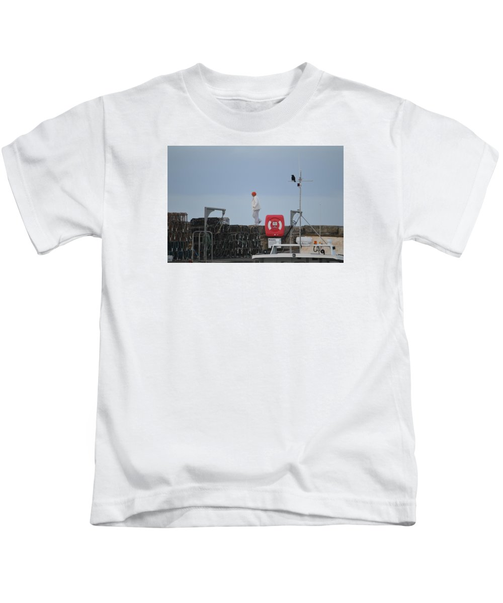Walk Kids T-Shirt featuring the photograph Walking The Pier Wall by Adrian Wale