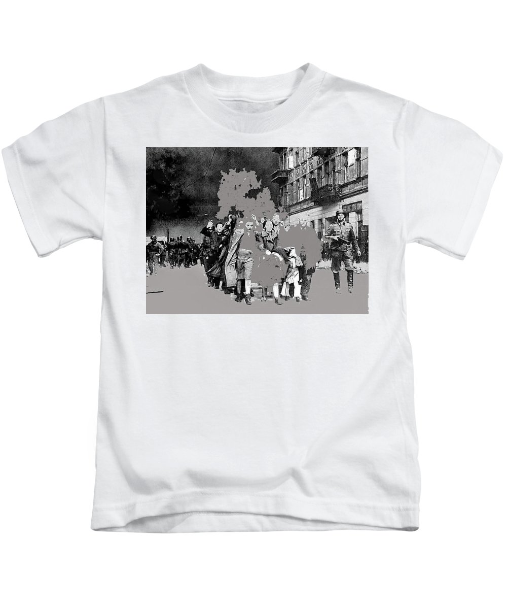 Warsaw Ghetto Uprising Number 1 1943 Color Added 2016 Kids T-Shirt featuring the photograph Warsaw Ghetto Uprising Number 1 1943 Color Added 2016 by David Lee Guss