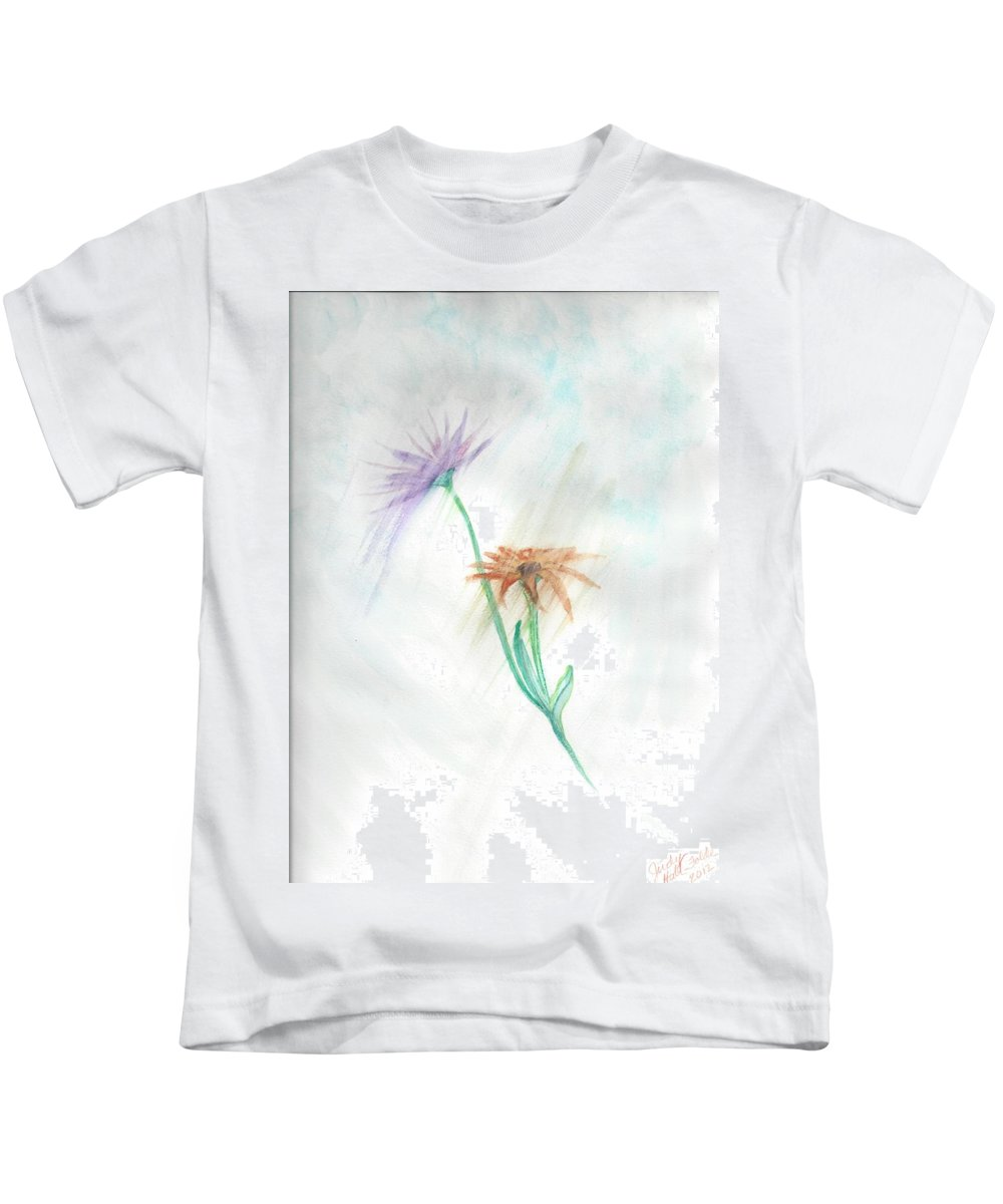 Flowers Kids T-Shirt featuring the painting Washing Away by Judy Hall-Folde
