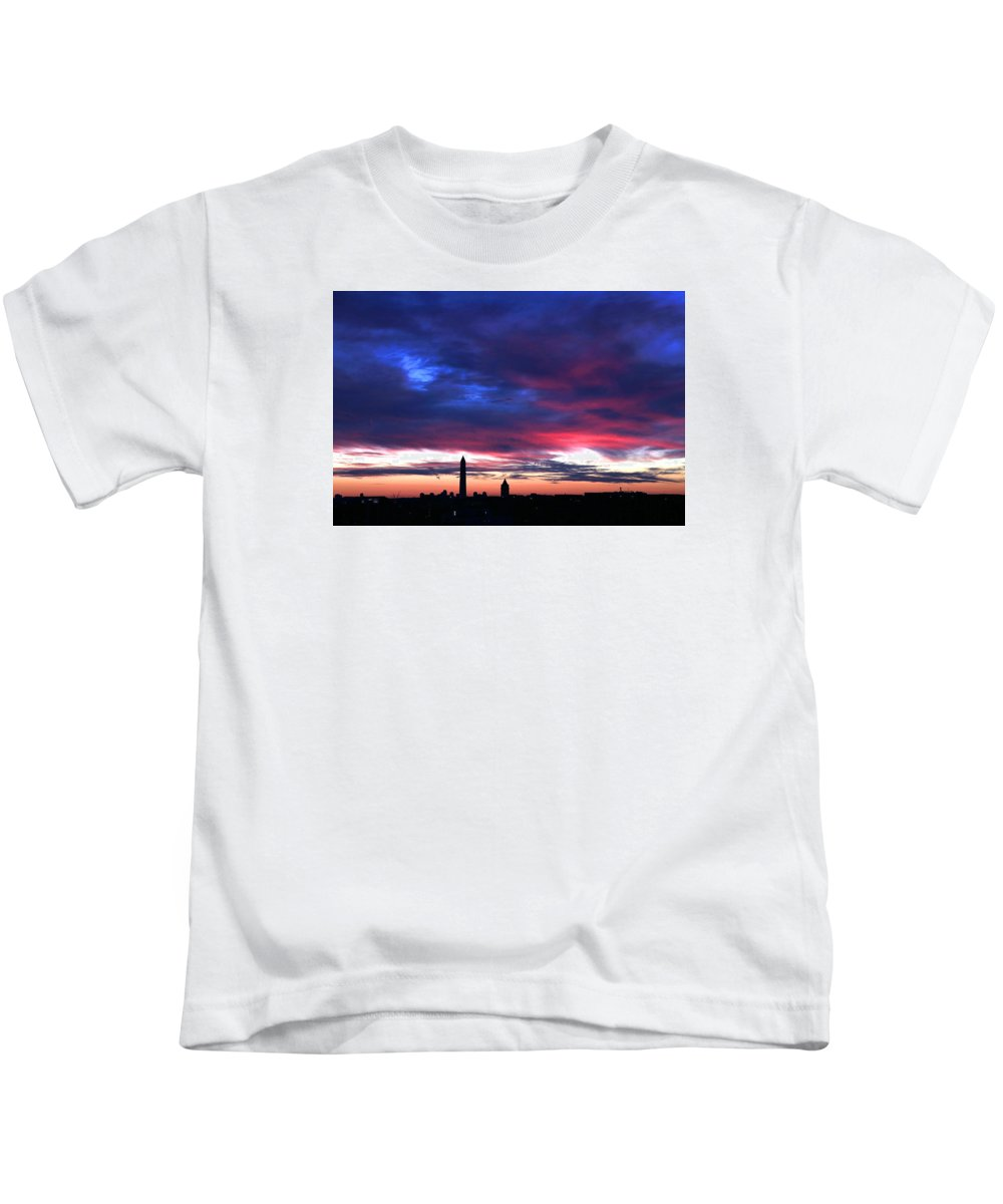 Washington Dc Kids T-Shirt featuring the photograph Washington Monument Dramatic Sunset by Steve Monell