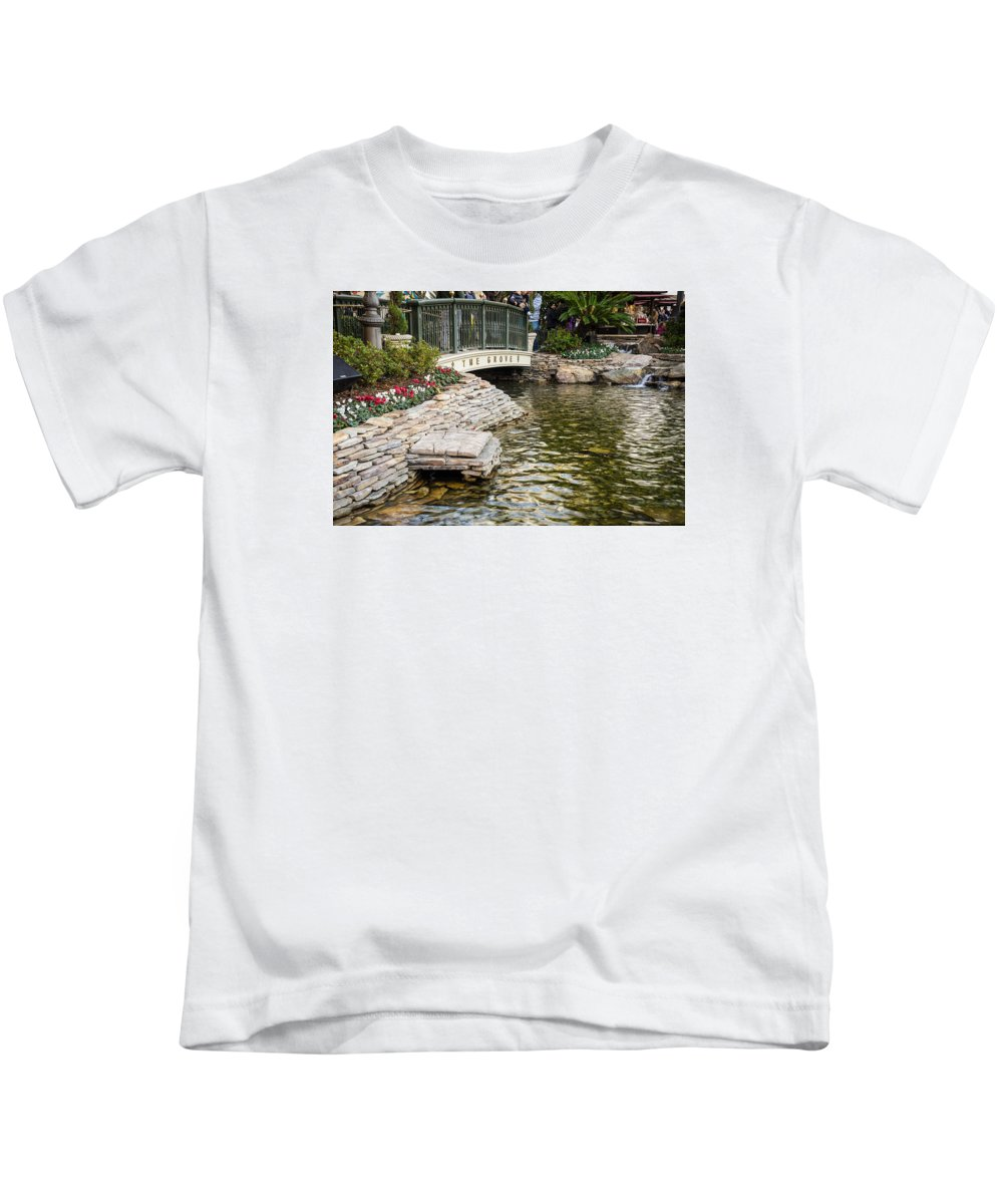 Landscape Flowers Water Rock Nature Kids T-Shirt featuring the photograph Water And Flower by Kevin Escobar