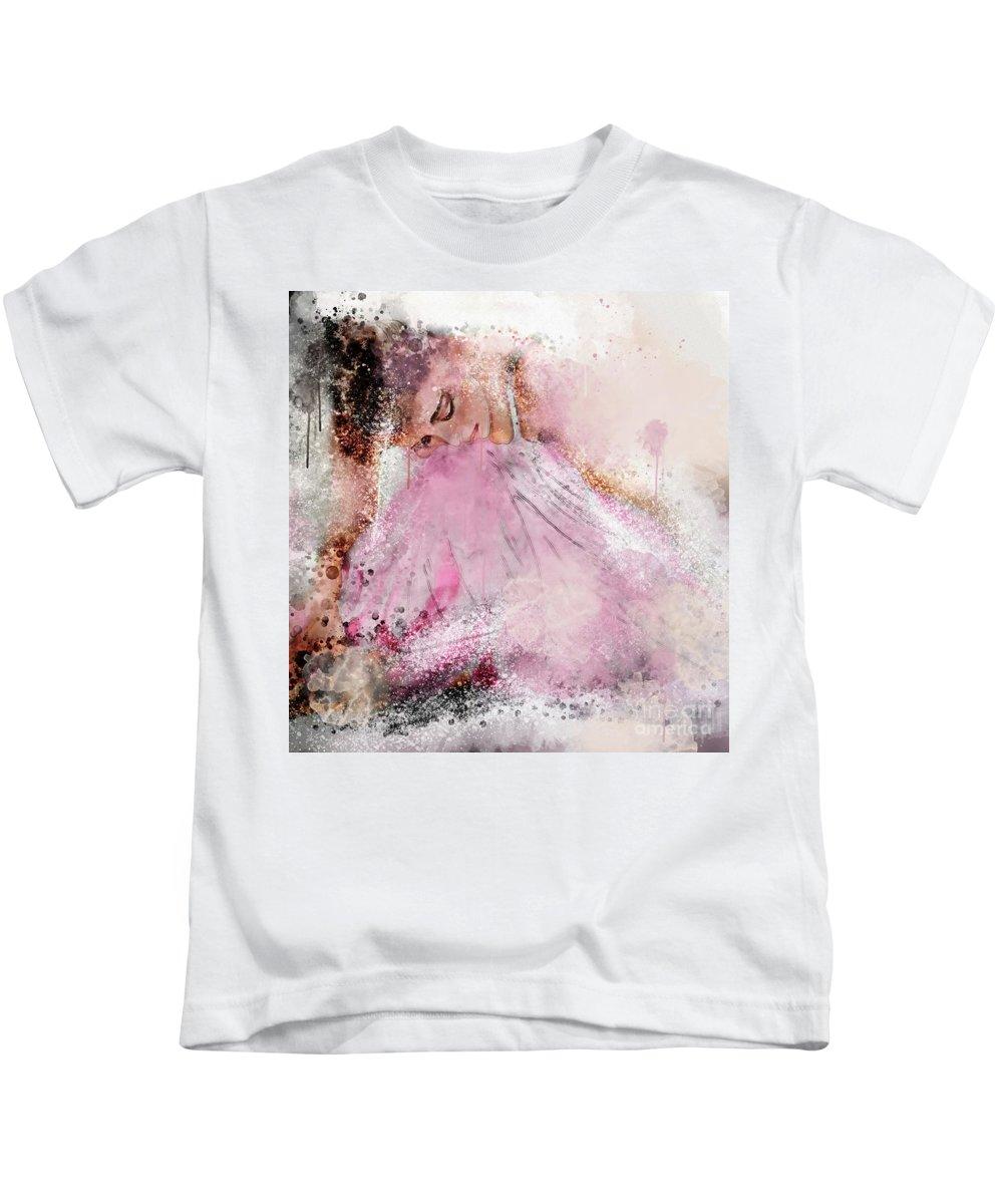 Ballerina Kids T-Shirt featuring the digital art Water Colour Ballerina by Jim Hatch