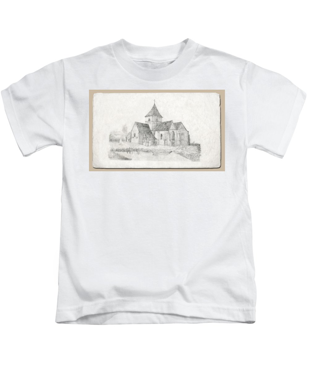 Landscape Of England 1863-1865 Kids T-Shirt featuring the drawing Water Inlet At Church by Donna L Munro