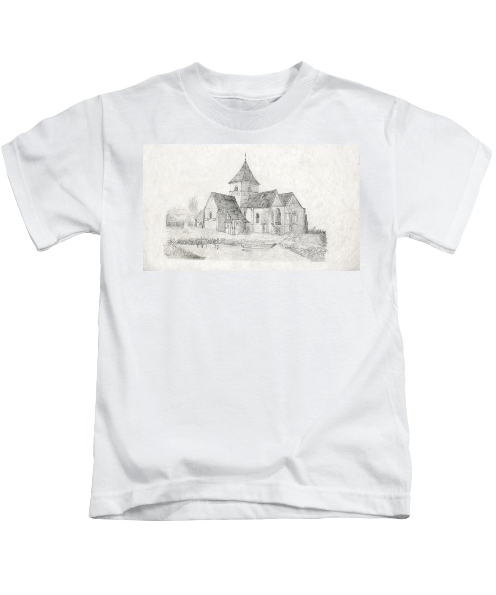 Water Inlet Kids T-Shirt featuring the drawing Water Inlet Near Church by Donna L Munro