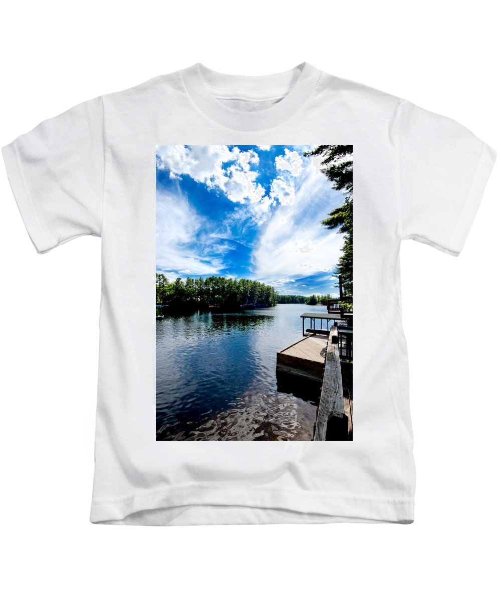 Water Kids T-Shirt featuring the photograph Water Mirrors Sky by Greg Fortier