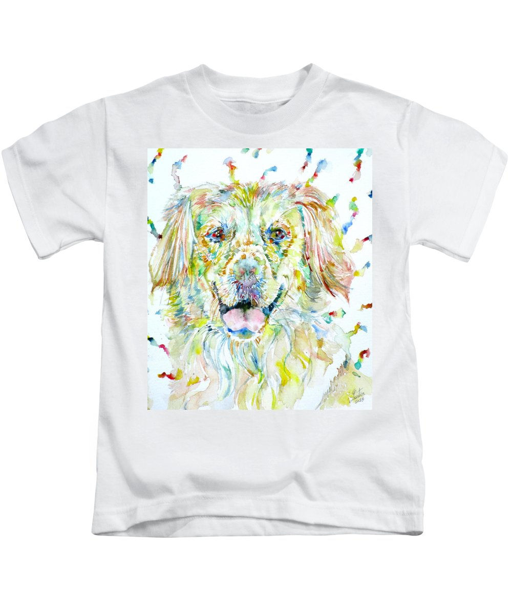 Labrador Kids T-Shirt featuring the painting Watercolor Labrador by Fabrizio Cassetta