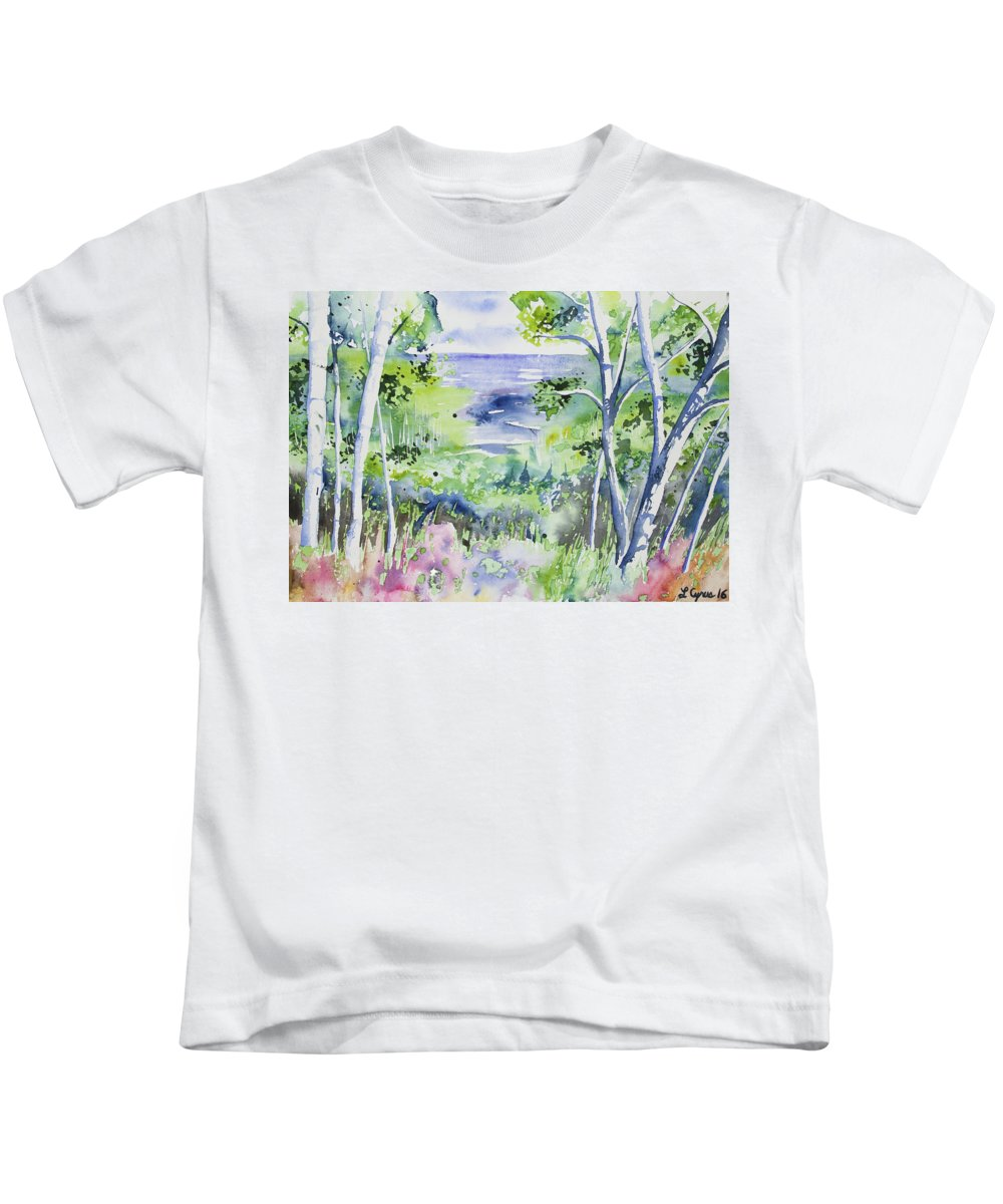Lake Superior Kids T-Shirt featuring the painting Watercolor - Lake Superior Impression by Cascade Colors