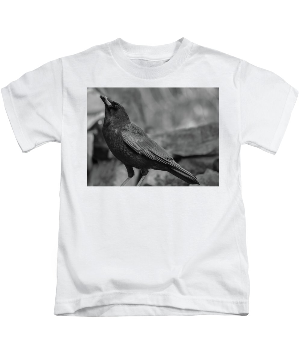 Crow - Rae Ann M. Garrett - Black And White Photography - Images Of Crows - Corvids- Mother Crow- For People Who Love Crows - Crow Lovers - International Known Artist - Professional Artists- Kids T-Shirt featuring the photograph Waterfall by Rae Ann M Garrett