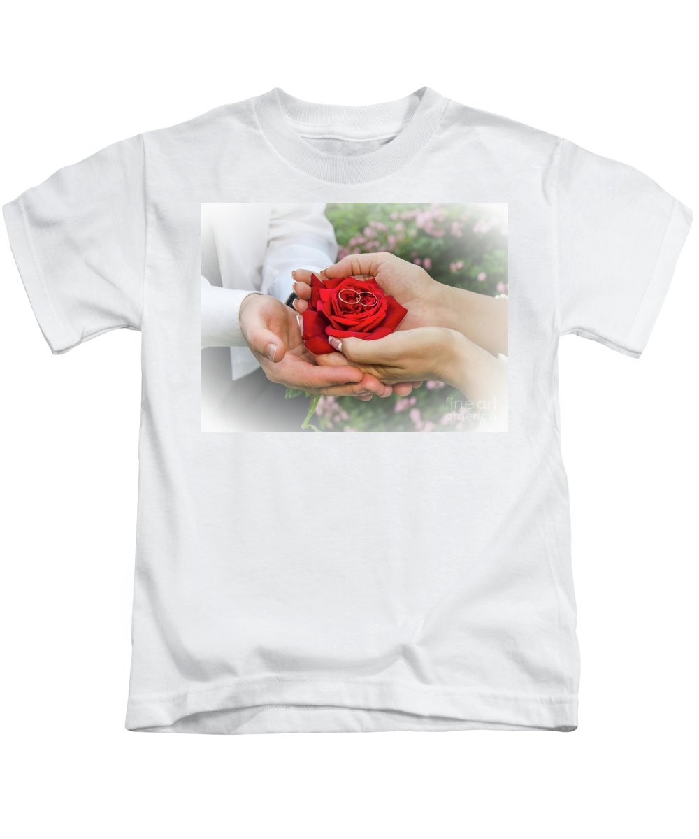 Bride Kids T-Shirt featuring the photograph Wedding Rings by Nataly Raikhel