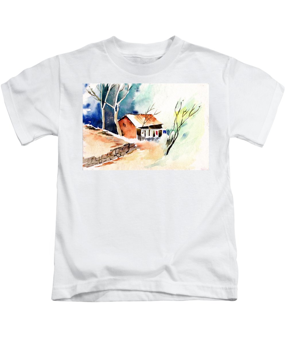 Nature Kids T-Shirt featuring the painting Weekend House by Anil Nene