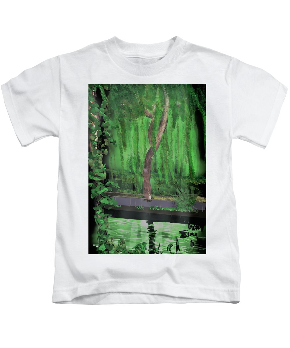 Tiltbrush Kids T-Shirt featuring the digital art Weeping Willow by Kab
