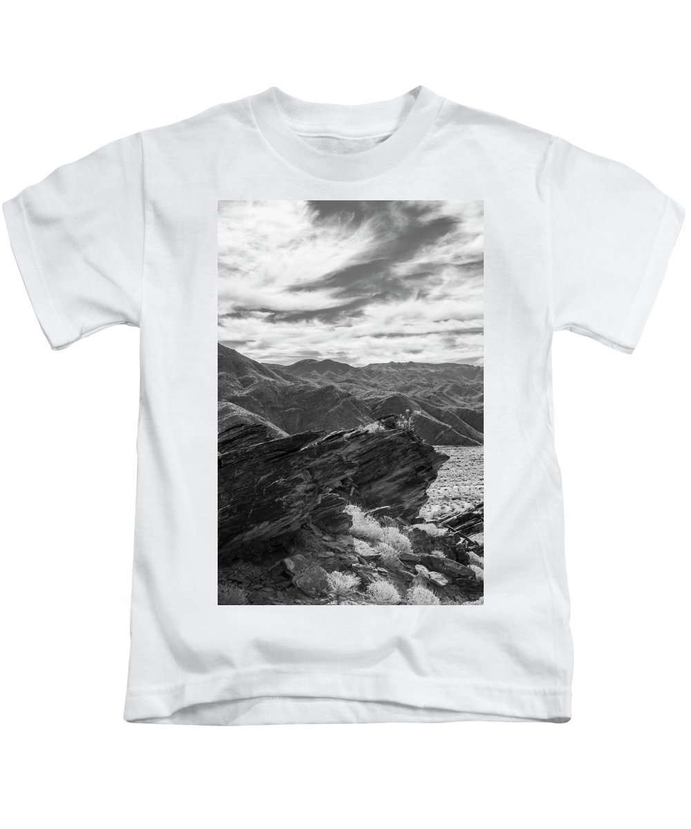 Rock Formation Kids T-Shirt featuring the photograph Were Andreas Meets Murray Bw 2 by Scott Campbell