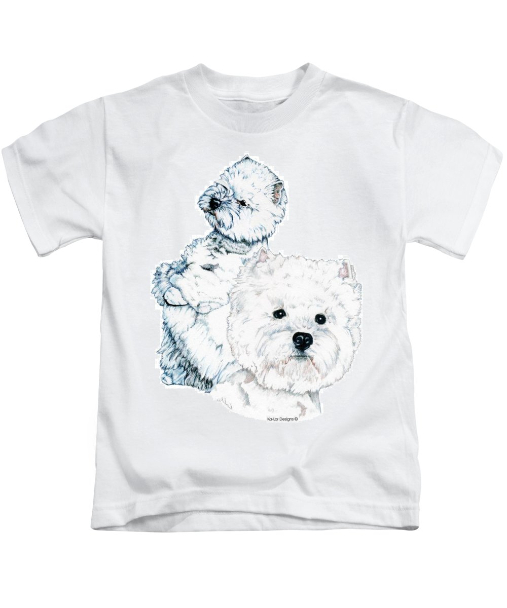 West Highland White Terrier Kids T-Shirt featuring the drawing West Highland White Terriers by Kathleen Sepulveda