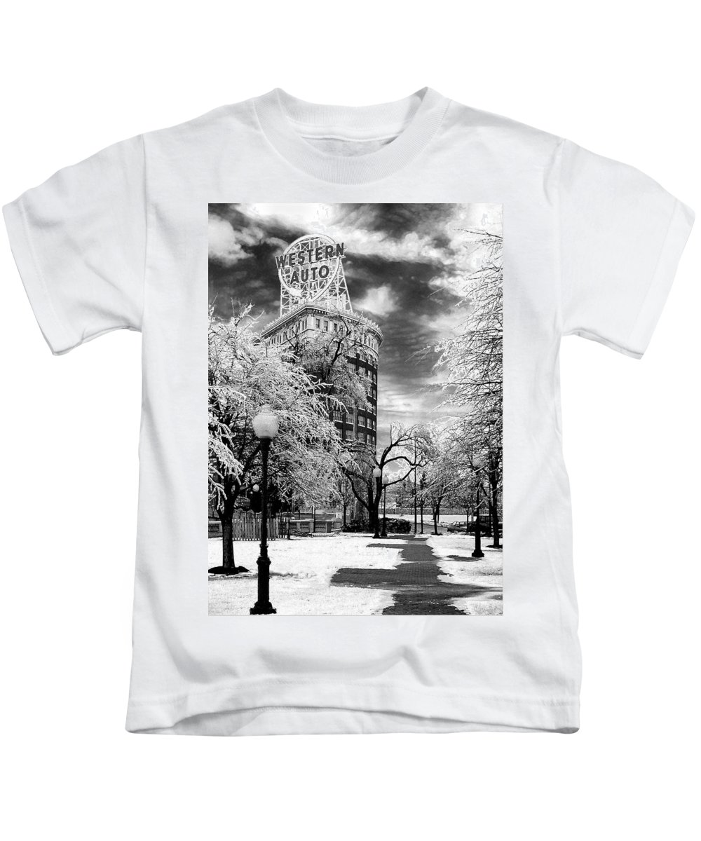 Western Auto Kansas City Kids T-Shirt featuring the photograph Western Auto In Winter by Steve Karol