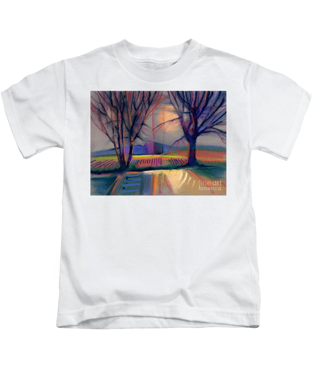 Abstract Kids T-Shirt featuring the painting Western Landscape by Donald Maier