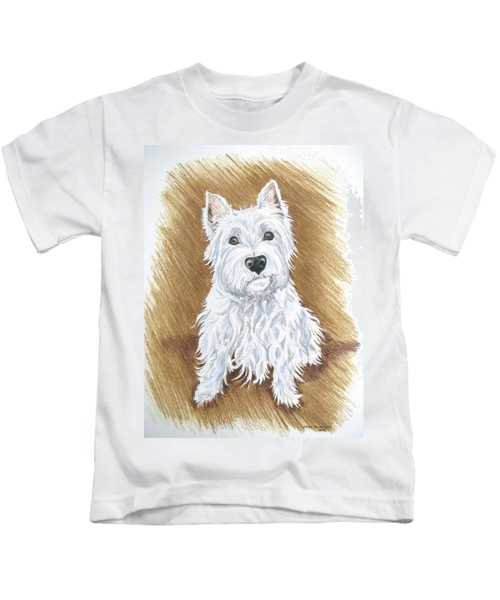Portrait Kids T-Shirt featuring the drawing Westie by Linda Williams
