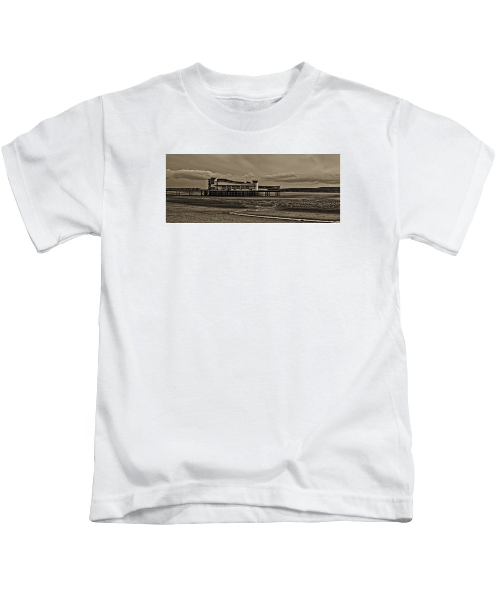 Beach Kids T-Shirt featuring the photograph Weston Super Mare  Outflow Pier Black White by Krzysztof Dac