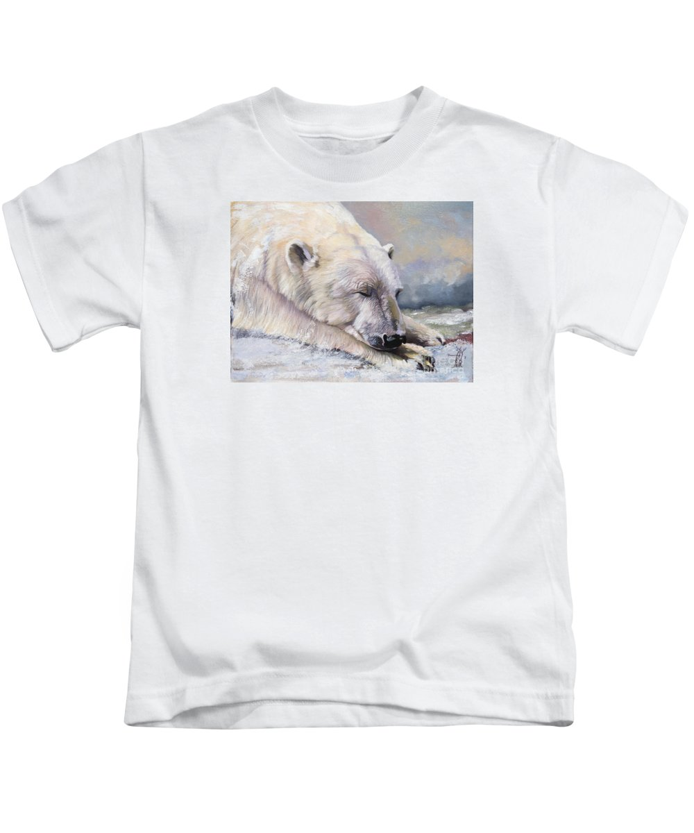 Bear Kids T-Shirt featuring the painting What Do Polar Bears Dream Of by J W Baker