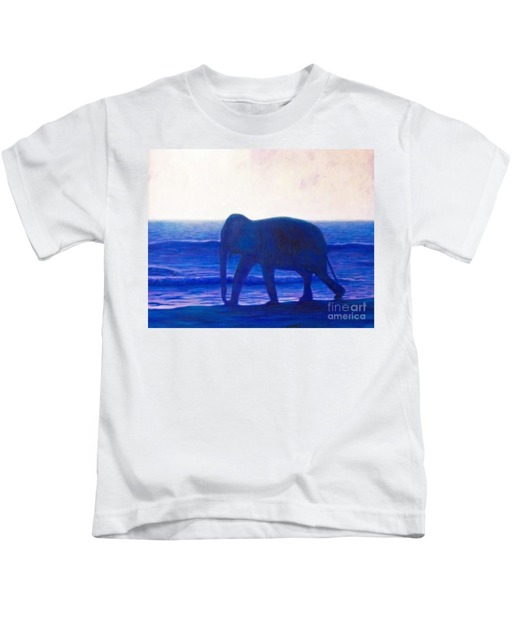 Elephant Kids T-Shirt featuring the painting When I Was Young by Brian Commerford
