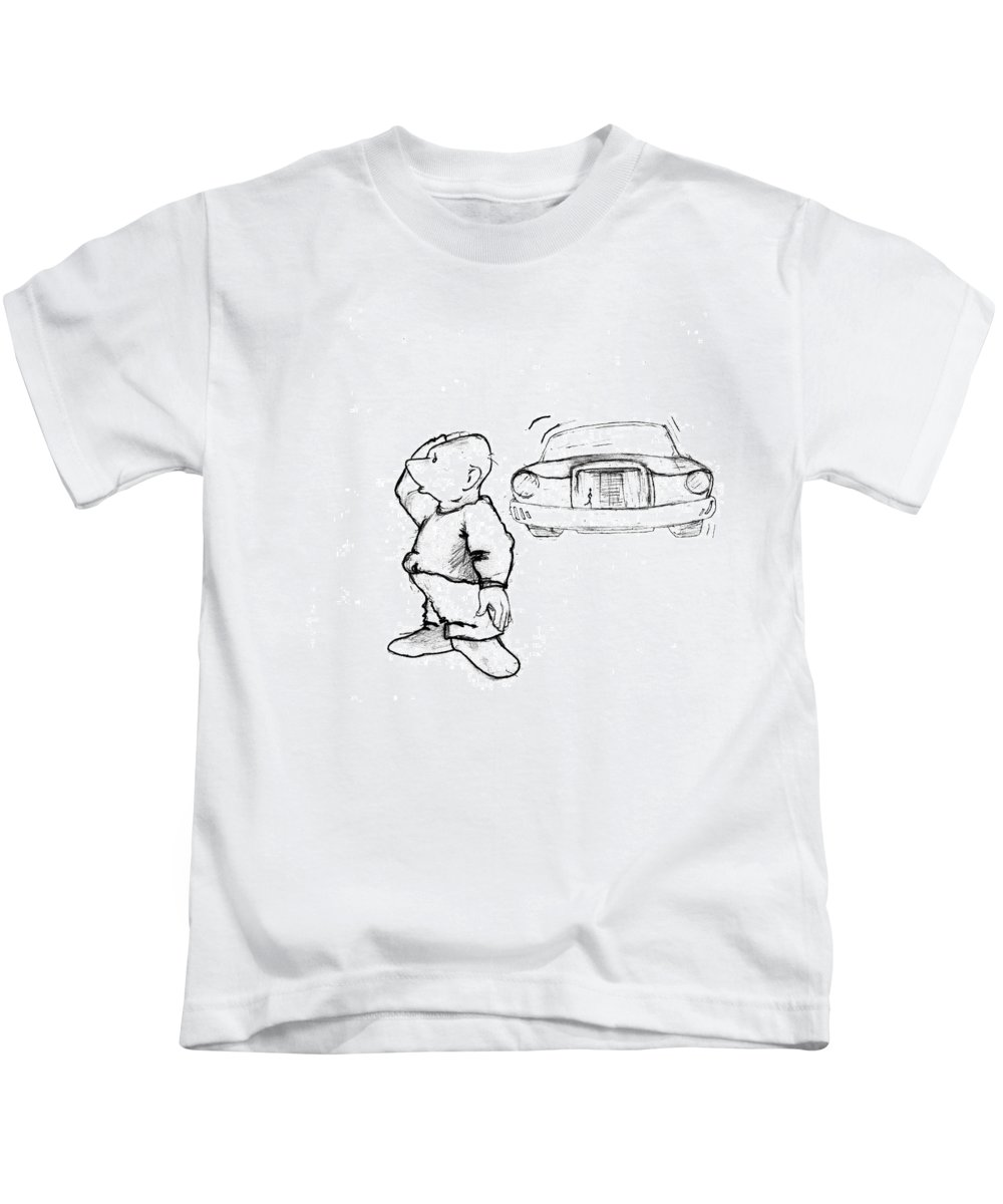 Man Kids T-Shirt featuring the drawing Where I Am... by Line Gagne