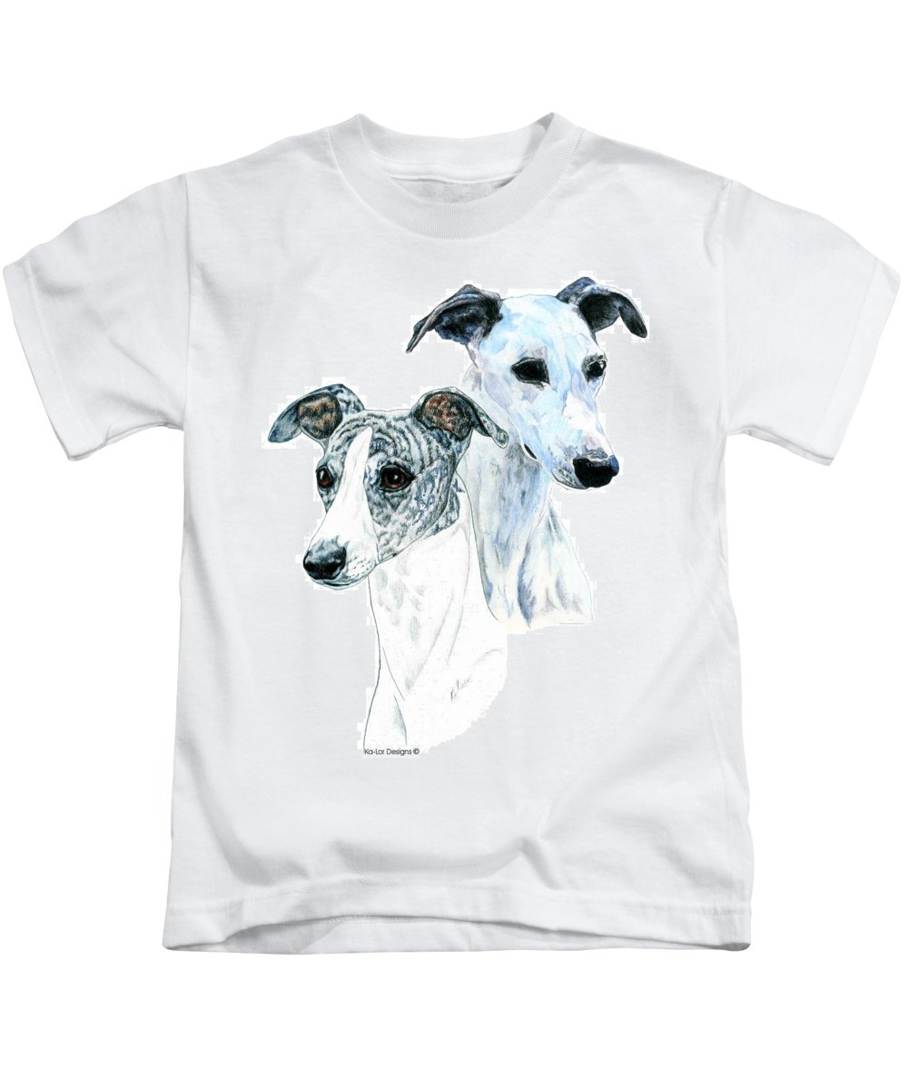 Whippet Kids T-Shirt featuring the painting Whippet Pair by Kathleen Sepulveda