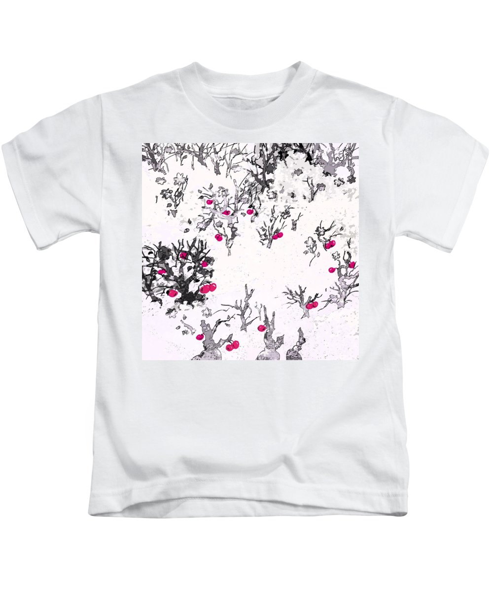 Abstract Kids T-Shirt featuring the digital art White As Snow With Cherries by Rachel Christine Nowicki