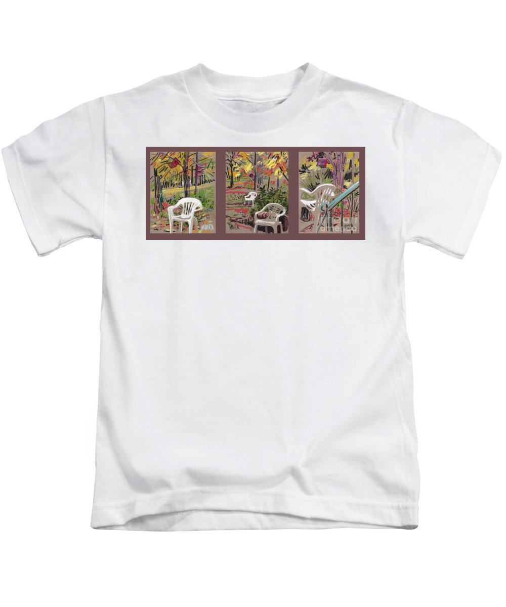 Pastel Kids T-Shirt featuring the drawing White Chairs and Birdhouses 1 by Donald Maier