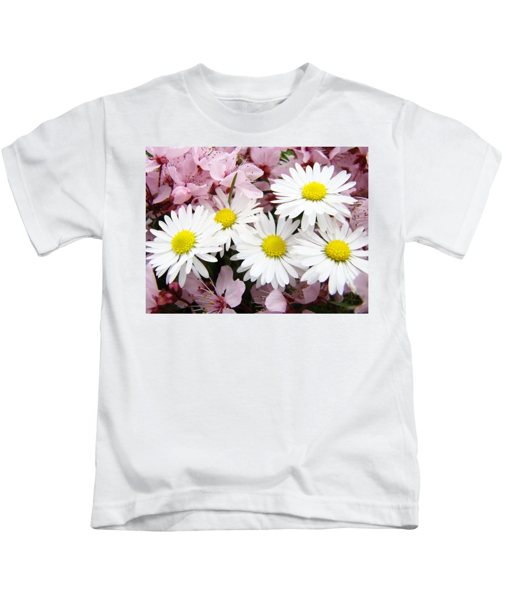 Blossom Kids T-Shirt featuring the photograph White Daisies Flowers Art Prints Spring Pink Blossoms Baslee by Baslee Troutman