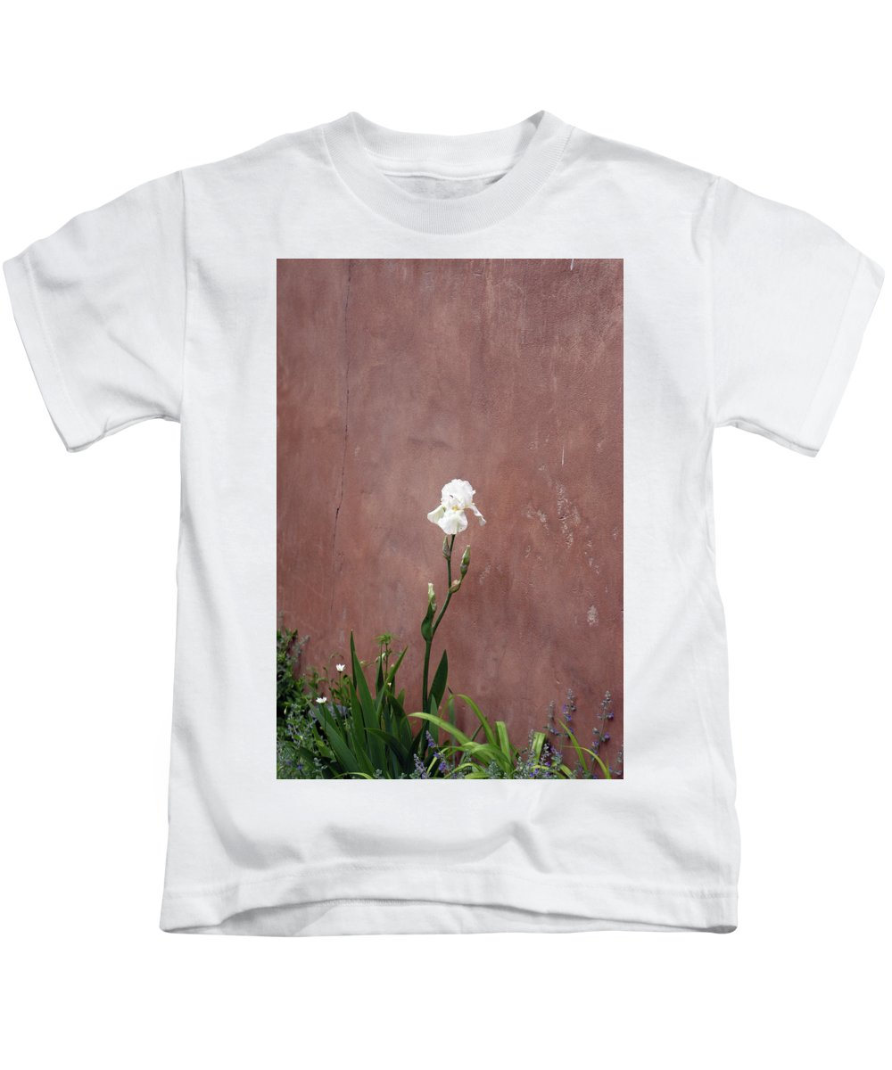 Iris Kids T-Shirt featuring the photograph White Iris In New Mexico by Alynne Landers