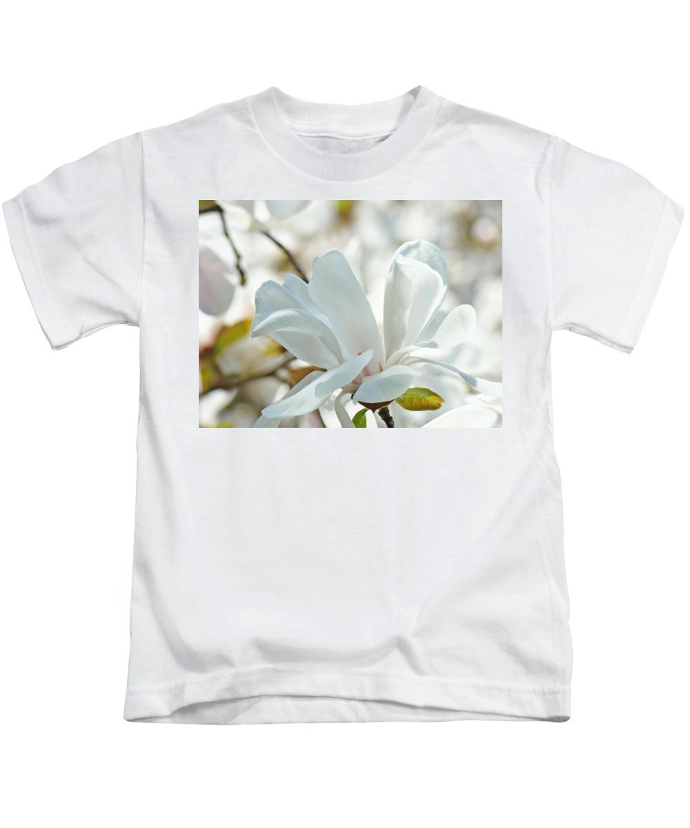 Magnolia Kids T-Shirt featuring the photograph White Magnolia Tree Flower Art Prints Magnolias Baslee Troutman by Baslee Troutman