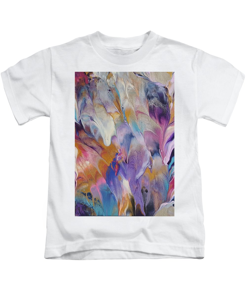 Abstract Art Kids T-Shirt featuring the painting White Noise by Leslie Joy Ferguson