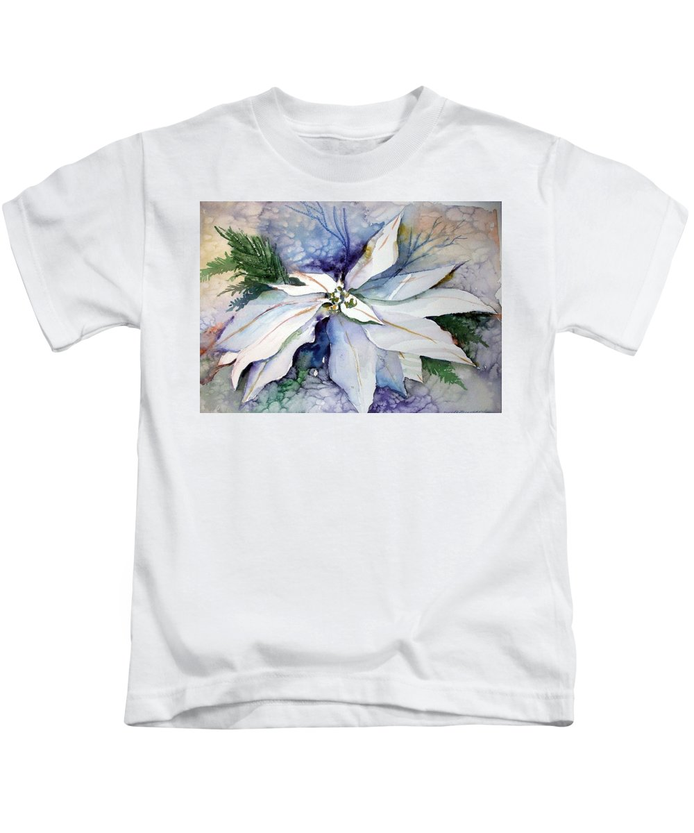 Floral Kids T-Shirt featuring the painting White Poinsettia by Mindy Newman