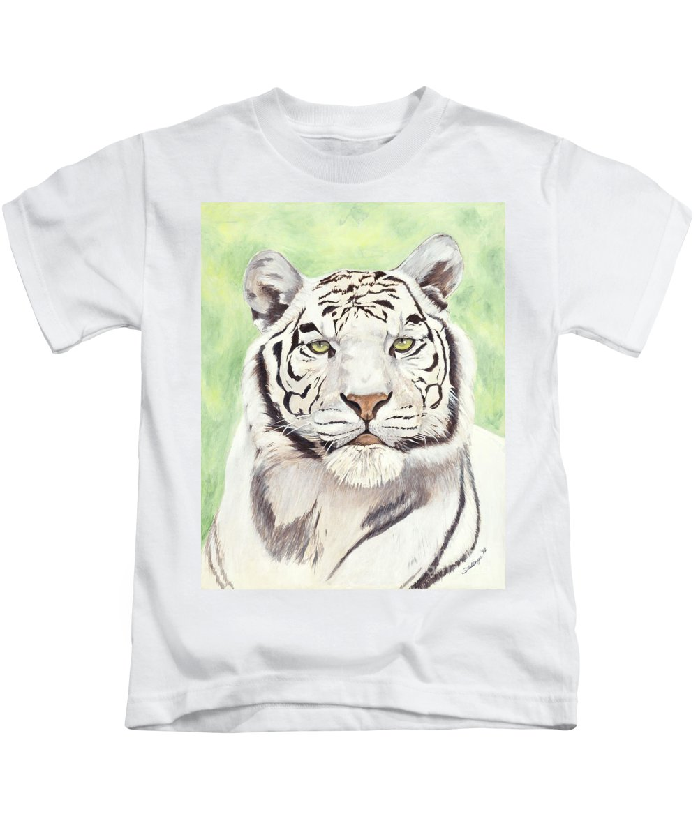 Tiger Kids T-Shirt featuring the painting White Silence by Shawn Stallings