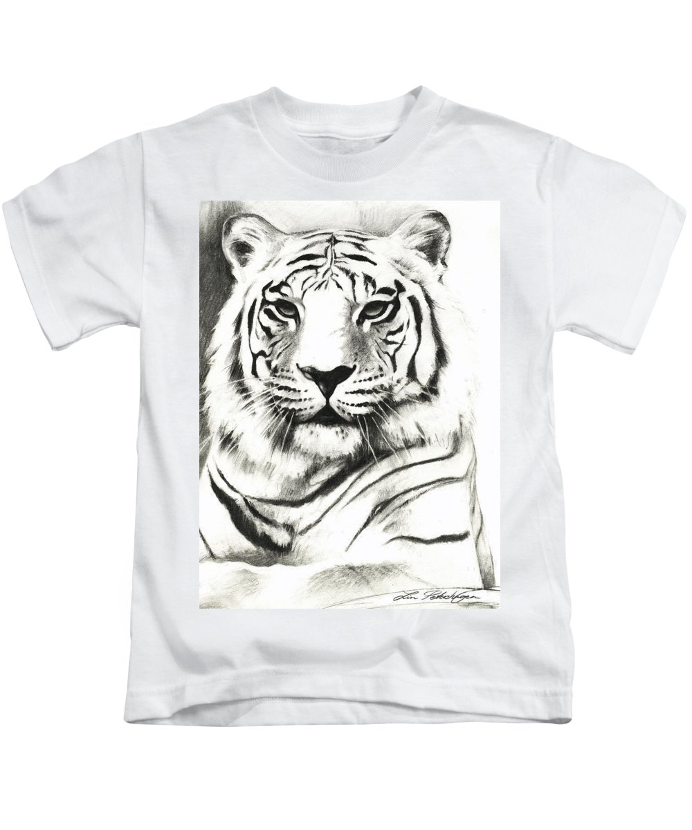 Lin Petershagen Kids T-Shirt featuring the drawing White Tiger Portrait by Lin Petershagen