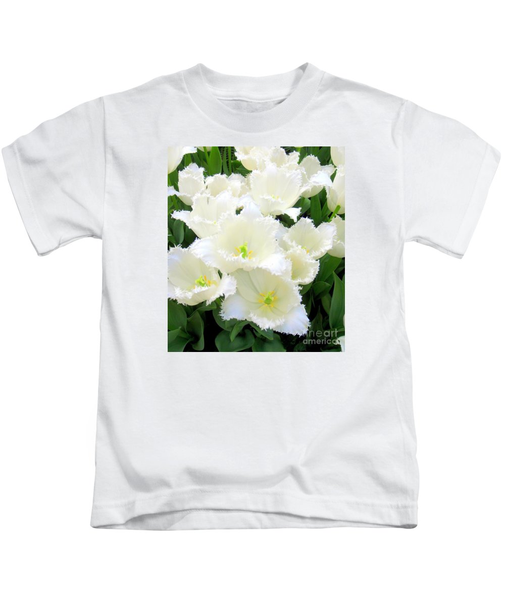 Tulips Kids T-Shirt featuring the photograph White Tulips by Mary Deal