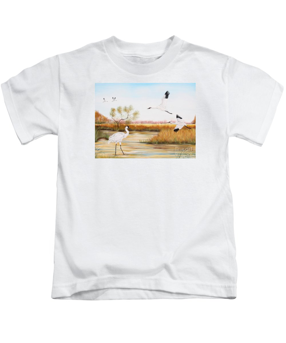 Jean Plout Kids T-Shirt featuring the painting Whooping Cranes-jp3151 by Jean Plout