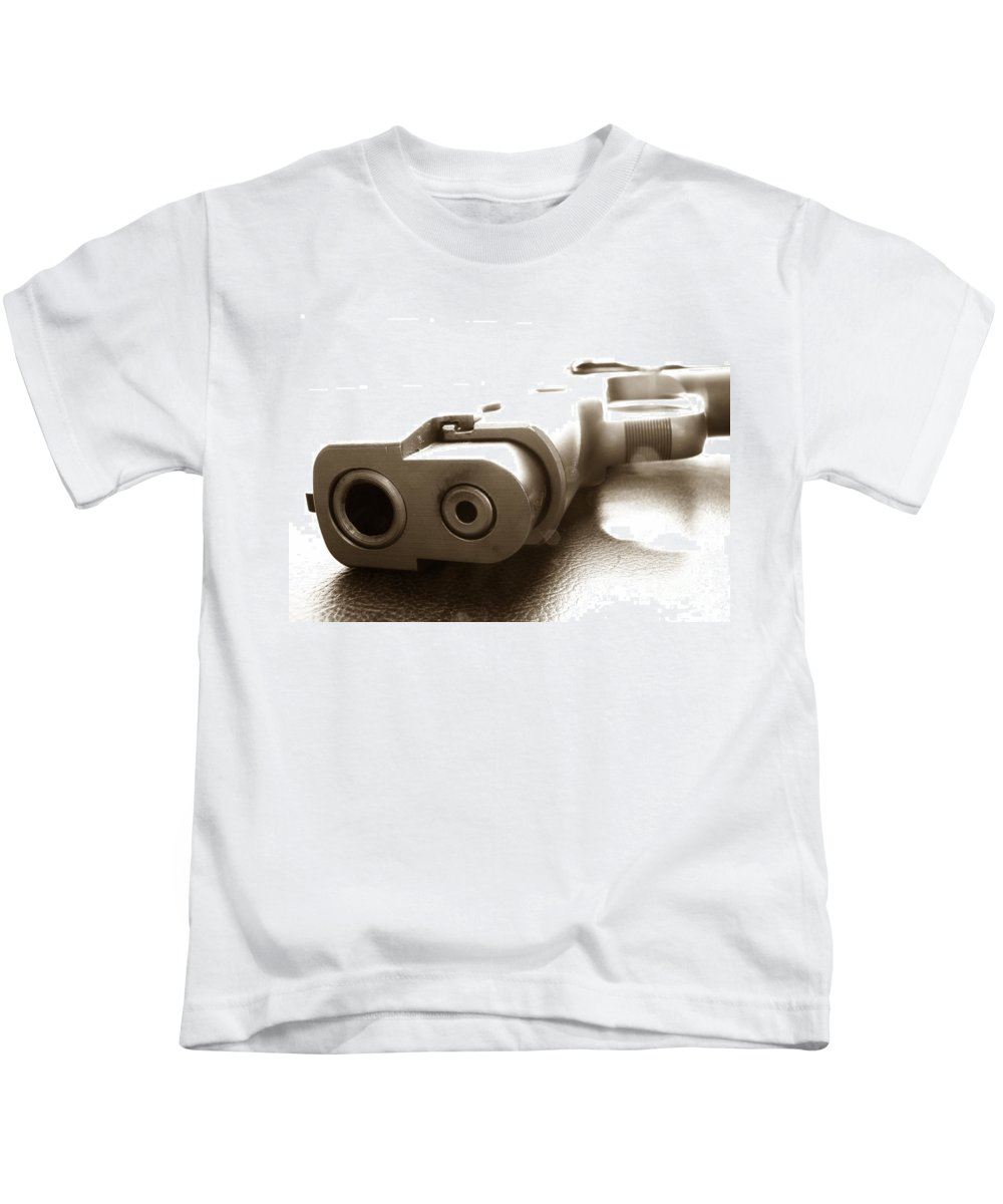 Gun Kids T-Shirt featuring the photograph Why by Amanda Barcon