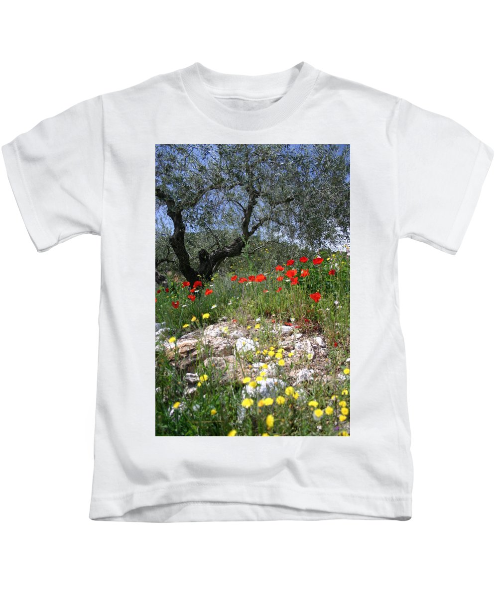 Dandelion Kids T-Shirt featuring the photograph Wild Flowers And Olive Tree by Fraser McCulloch
