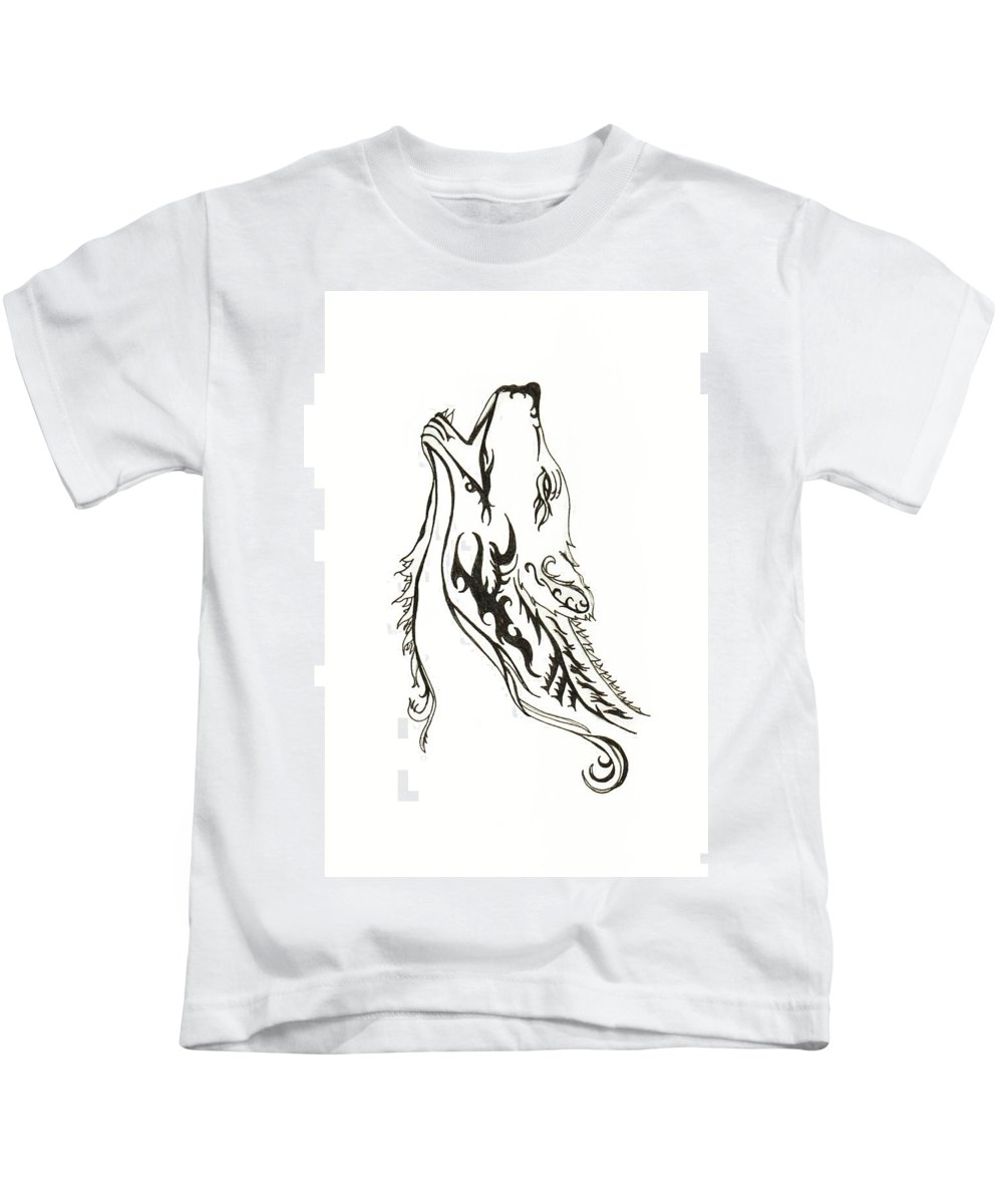 Art Kids T-Shirt featuring the drawing Wild Wolf by Abigail Ryan