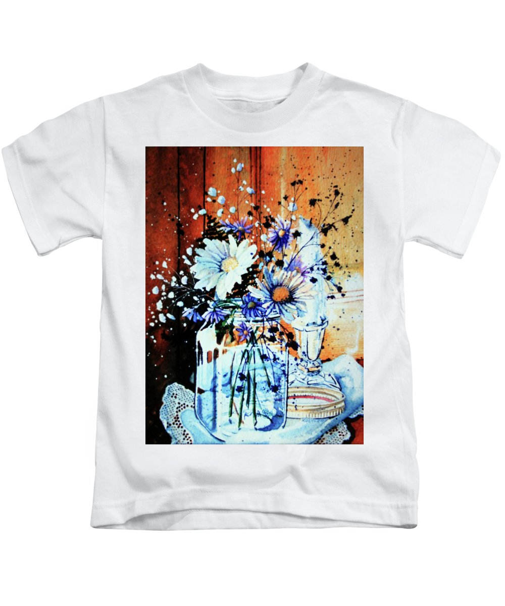 Wildflowers In A Mason Jar Kids T-Shirt featuring the painting Wildflowers In A Mason Jar by Hanne Lore Koehler
