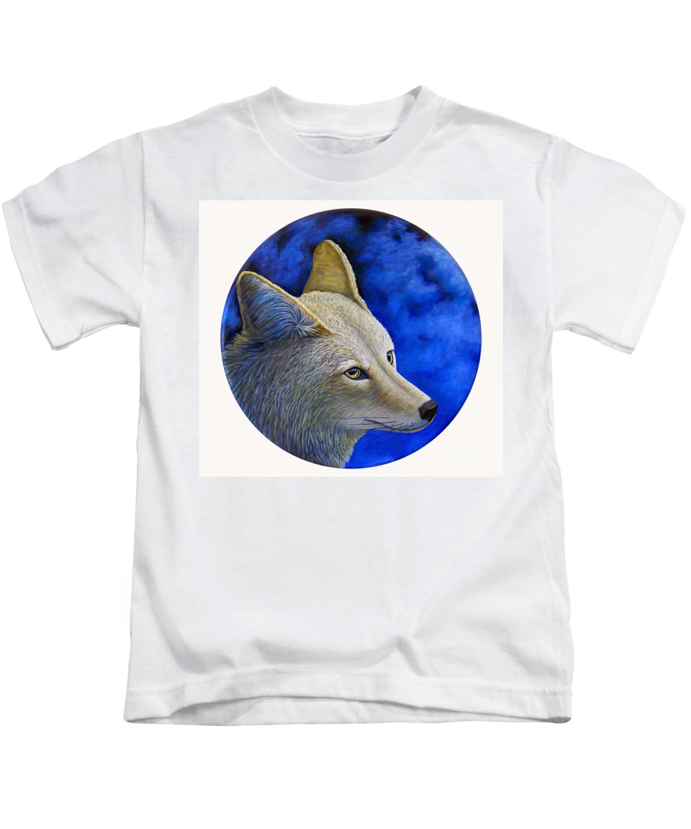 Coyote Kids T-Shirt featuring the painting Wiley Coyote by Brian Commerford