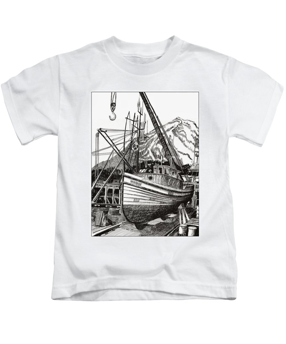 Nautical Shipyard Fishing Boats Kids T-Shirt featuring the drawing Will Fish Again Another Day by Jack Pumphrey