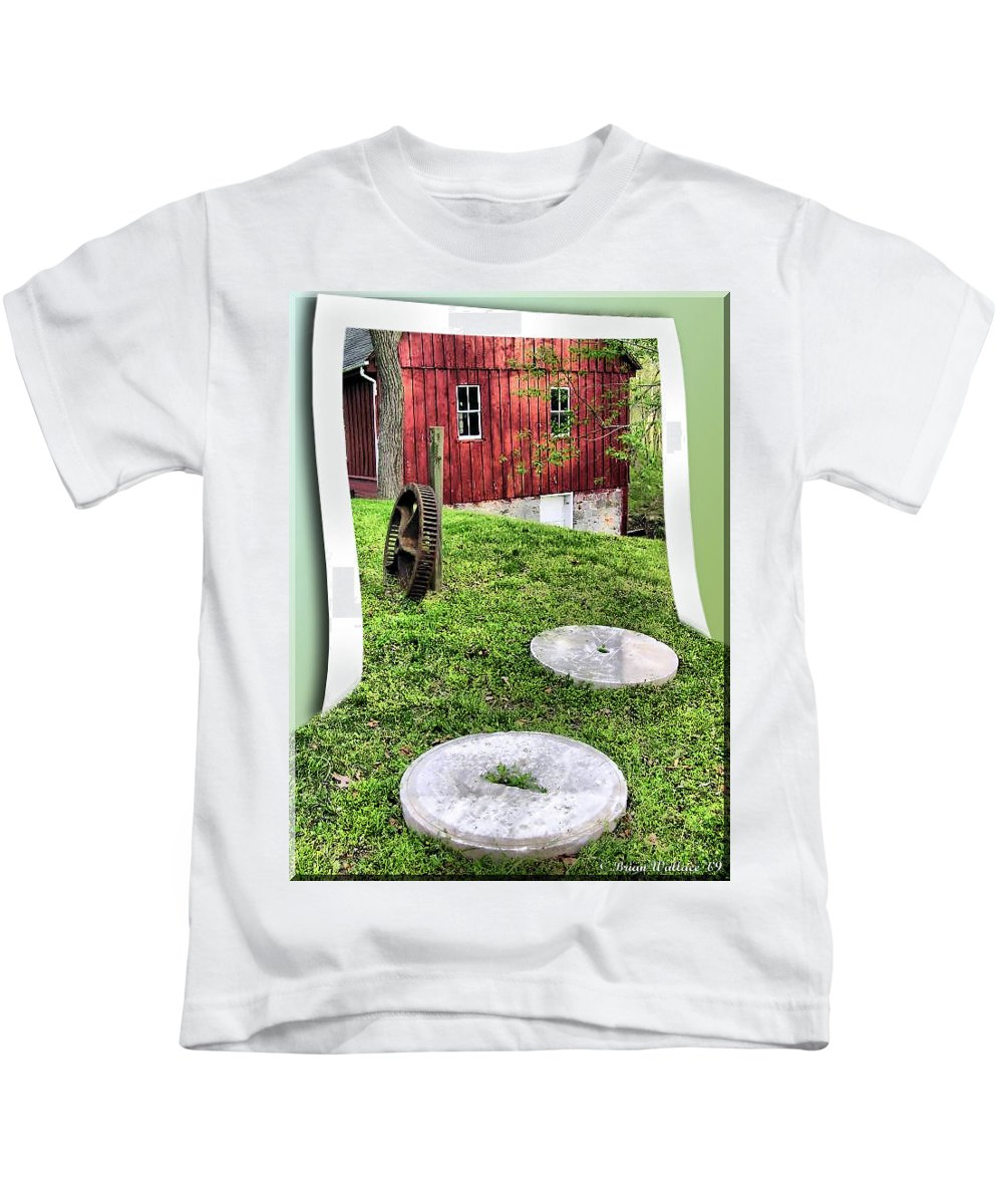 2d Kids T-Shirt featuring the photograph Williston Mill And Grist Wheels by Brian Wallace