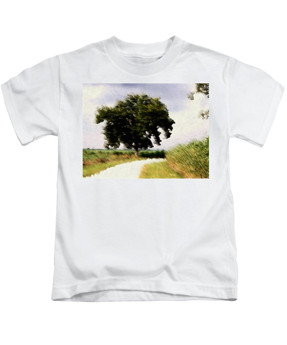 Breeze Kids T-Shirt featuring the digital art Wind Motif Old Dam Road by RC DeWinter