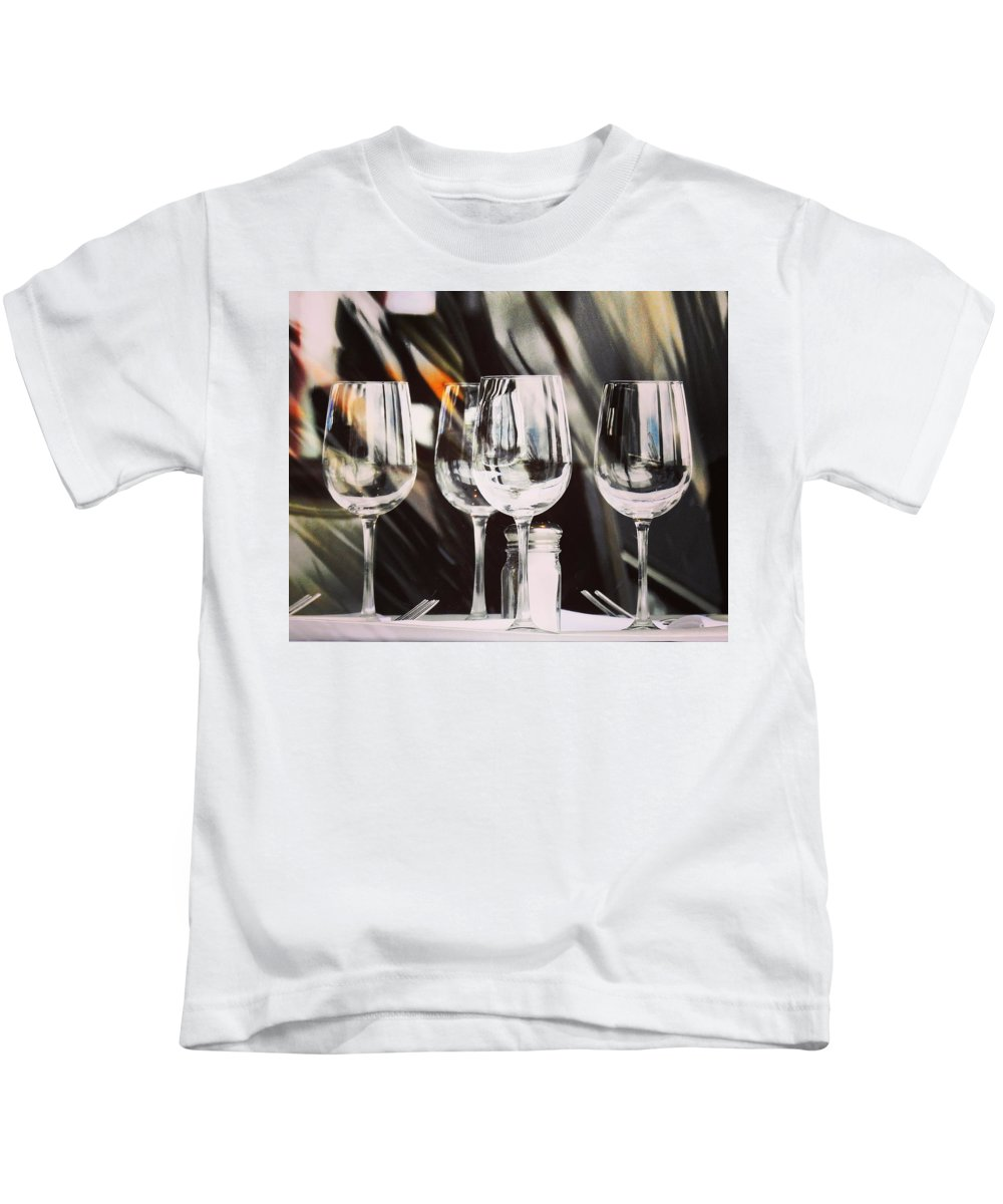 Wine Glass Kids T-Shirt featuring the photograph Wine Glasses by Greg Kear