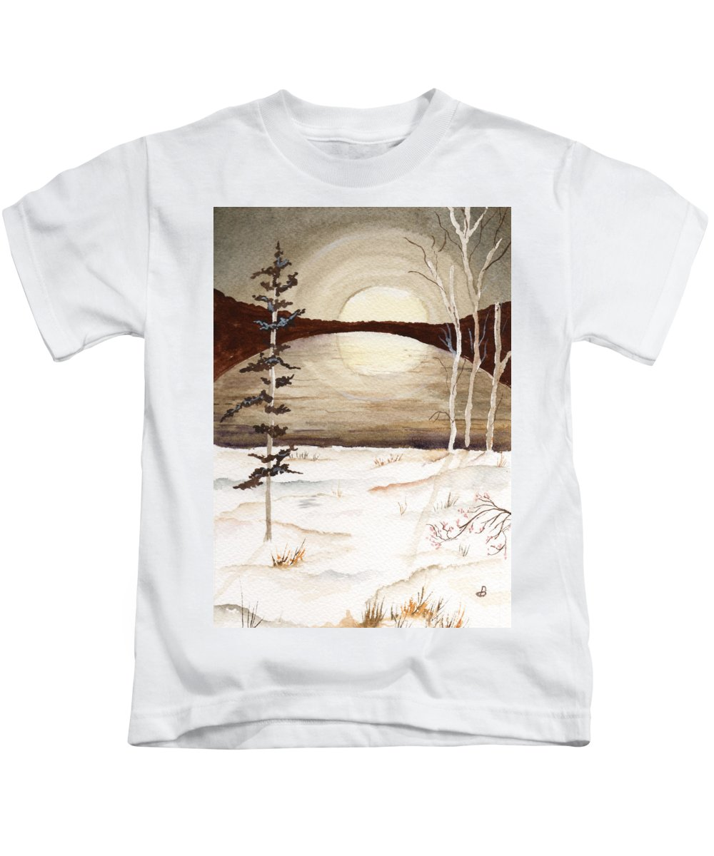 Watercolor Kids T-Shirt featuring the painting Winter Apex by Brenda Owen