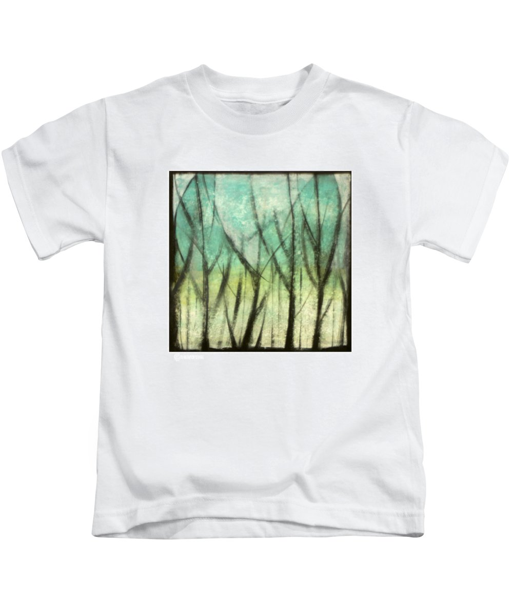Trees Kids T-Shirt featuring the painting Winter Into Spring by Tim Nyberg