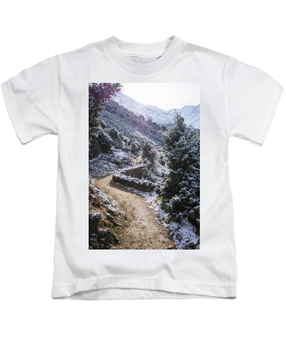 Morning Kids T-Shirt featuring the photograph Winter Mountain Path by Yuka Ogava