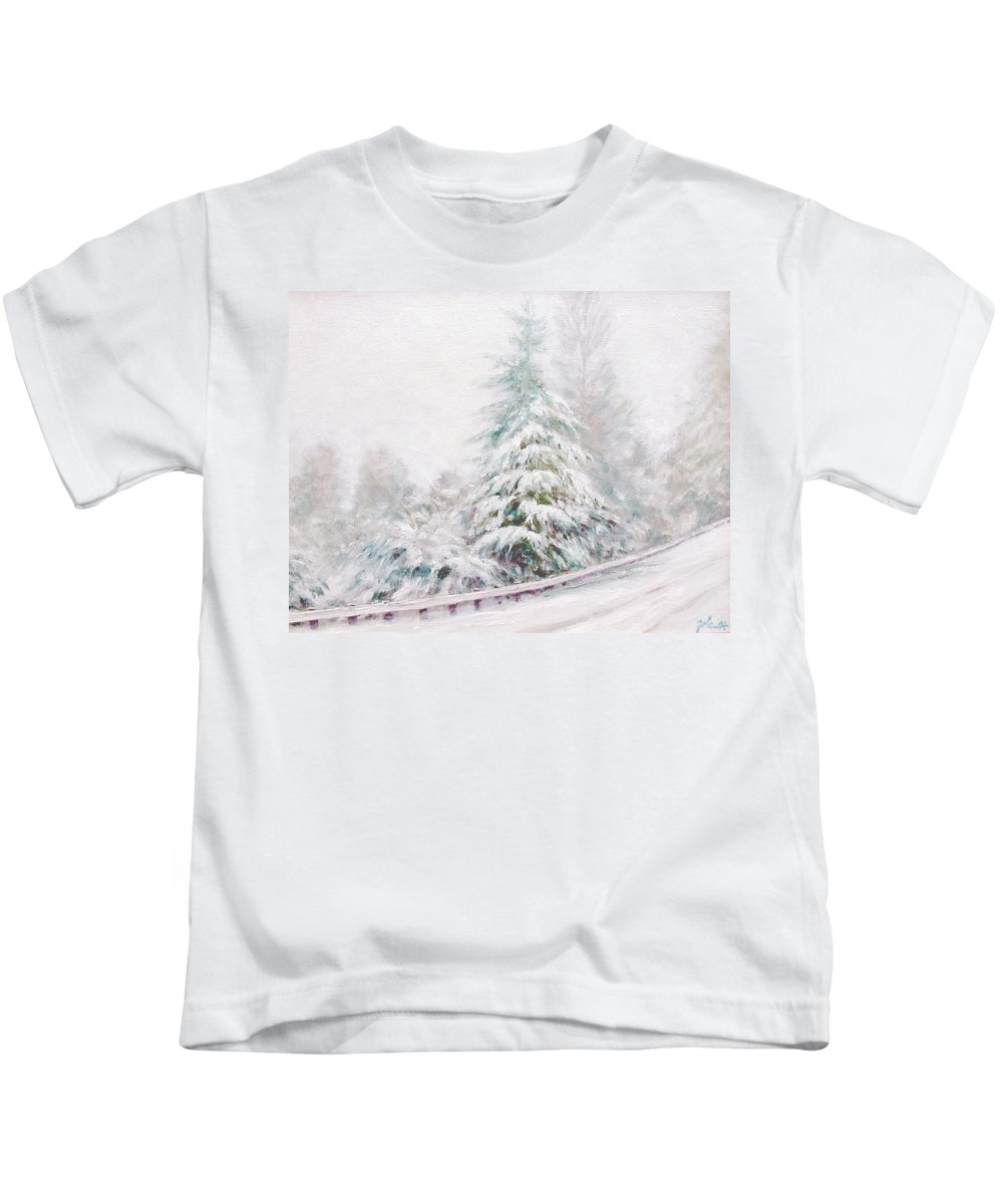 Winter Landscape Kids T-Shirt featuring the painting Winter Of 04 by Jim Gola