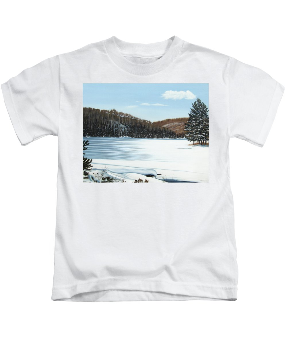 Landscapes Kids T-Shirt featuring the painting Winter On An Ontario Lake by Kenneth M Kirsch